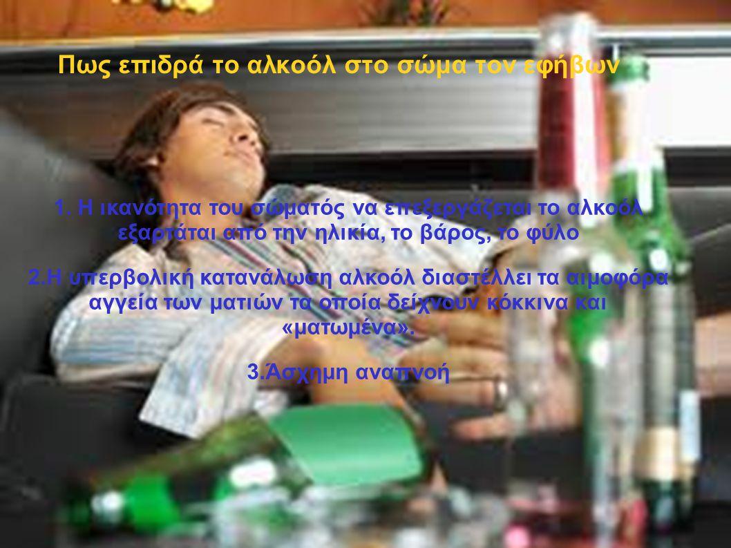 Πως επιδρά το αλκοόλ στο σώμα τον εφήβων 1. Η ικανότητα του σώματός να επεξεργάζεται το αλκοόλ εξαρτάται από την ηλικία, το βάρος, το φύλο 2.Η υπερβολ
