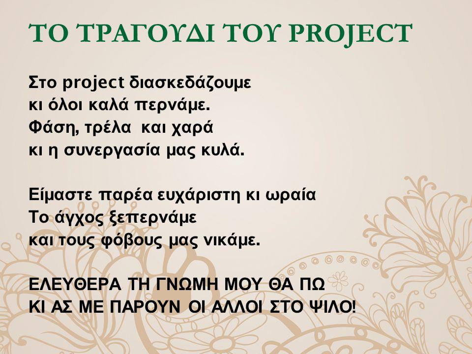ΤΟ ΤΡΑΓΟΥΔΙ ΤΟΥ PROJECT Στο project διασκεδάζουμε κι όλοι καλά π ερνάμε.
