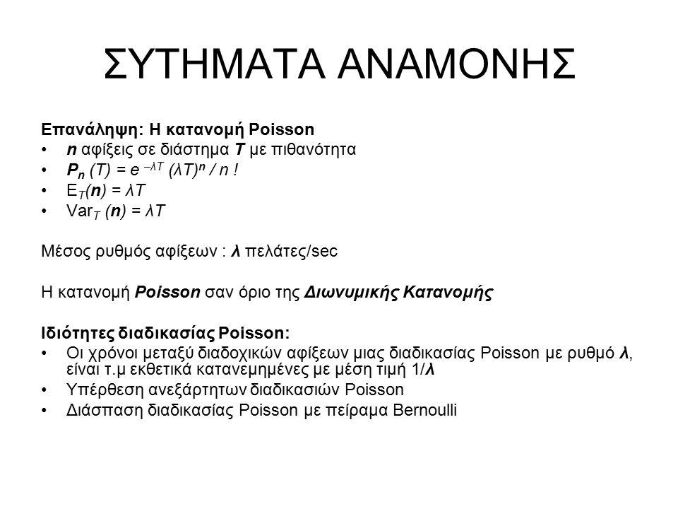ΣΥΤΗΜΑΤΑ ΑΝΑΜΟΝΗΣ Επανάληψη: Η κατανομή Poisson n αφίξεις σε διάστημα Τ με πιθανότητα P n (T) = e –λT (λΤ) n / n ! E T (n) = λT Var T (n) = λΤ Μέσος ρ