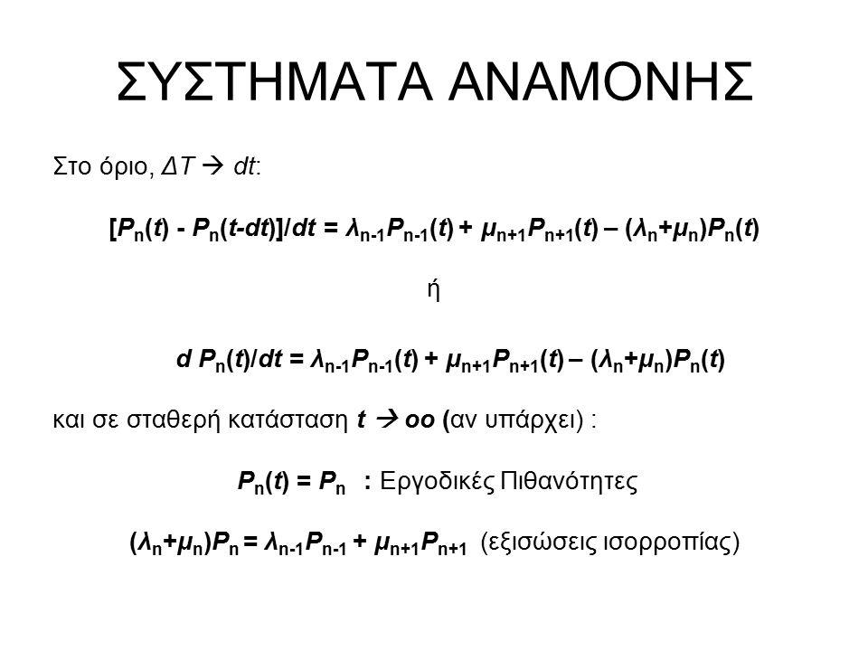 ΣΥΣΤΗΜΑΤΑ ΑΝΑΜΟΝΗΣ Στο όριο, ΔΤ  dt: [P n (t) - P n (t-dt)]/dt = λ n-1 P n-1 (t) + μ n+1 P n+1 (t) – (λ n +μ n )P n (t) ή d P n (t)/dt = λ n-1 P n-1 (t) + μ n+1 P n+1 (t) – (λ n +μ n )P n (t) και σε σταθερή κατάσταση t  οο (αν υπάρχει) : P n (t) = P n : Εργοδικές Πιθανότητες (λ n +μ n )P n = λ n-1 P n-1 + μ n+1 P n+1 (εξισώσεις ισορροπίας)
