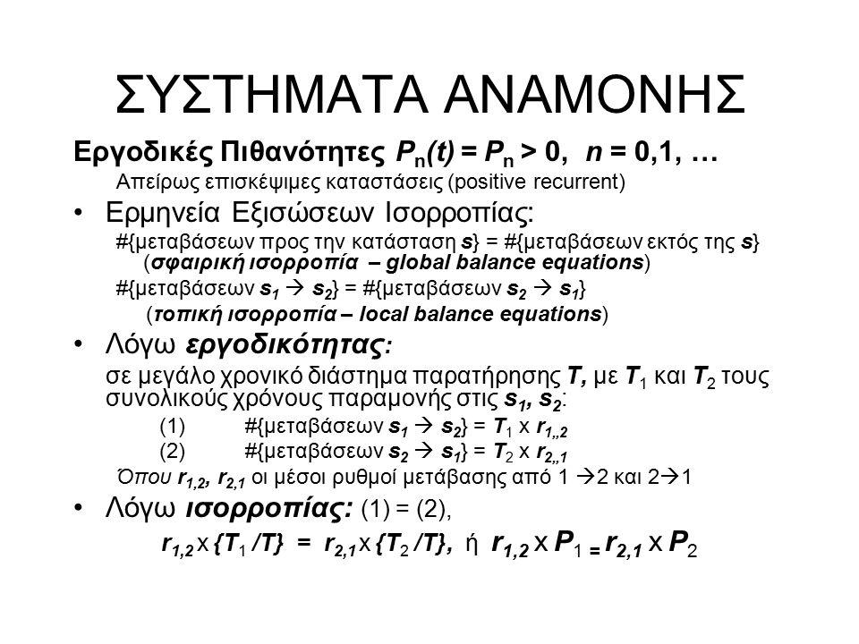 ΣΥΣΤΗΜΑΤΑ ΑΝΑΜΟΝΗΣ Εργοδικές Πιθανότητες P n (t) = P n > 0, n = 0,1, … Απείρως επισκέψιμες καταστάσεις (positive recurrent) Ερμηνεία Εξισώσεων Ισορροπίας: #{μεταβάσεων προς την κατάσταση s} = #{μεταβάσεων εκτός της s} (σφαιρική ισορροπία – global balance equations) #{μεταβάσεων s 1  s 2 } = #{μεταβάσεων s 2  s 1 } (τοπική ισορροπία – local balance equations) Λόγω εργοδικότητας : σε μεγάλο χρονικό διάστημα παρατήρησης Τ, με Τ 1 και Τ 2 τους συνολικούς χρόνους παραμονής στις s 1, s 2 : (1)#{μεταβάσεων s 1  s 2 } = T 1 x r 1,,2 (2) #{μεταβάσεων s 2  s 1 } = T 2 x r 2,,1 Όπου r 1,2, r 2,1 οι μέσοι ρυθμοί μετάβασης από 1  2 και 2  1 Λόγω ισορροπίας: (1) = (2), r 1,2 x {T 1 /Τ} = r 2,1 x {T 2 /Τ}, ή r 1,2 x P 1 = r 2,1 x P 2