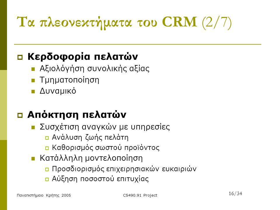 Πανεπιστήμειο Κρήτης 2005CS490.91 Project Τα πλεονεκτήματα του CRM (2/7)  Κερδοφορία πελατών Αξιολόγήση συνολικής αξίας Τμηματοποίηση Δυναμικό  Απόκ