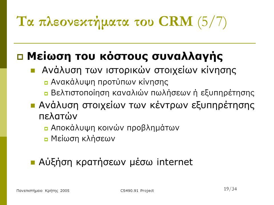 Πανεπιστήμειο Κρήτης 2005CS490.91 Project Τα πλεονεκτήματα του CRM (5/7)  Μείωση του κόστους συναλλαγής Ανάλυση των ιστορικών στοιχείων κίνησης  Ανα
