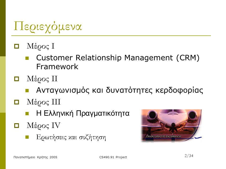 Πανεπιστήμειο Κρήτης 2005CS490.91 Project Περιεχόμενα  Μέρος I Customer Relationship Management (CRM) Framework  Μέρος II Ανταγωνισμός και δυνατότητ