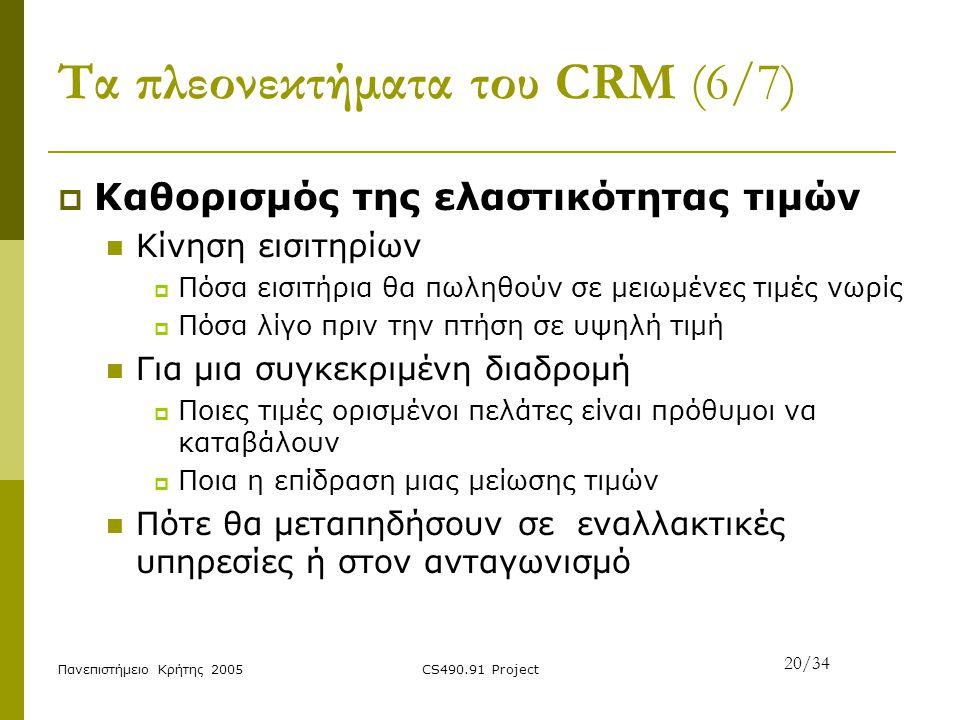 Πανεπιστήμειο Κρήτης 2005CS490.91 Project Τα πλεονεκτήματα του CRM (6/7)  Καθορισμός της ελαστικότητας τιμών Κίνηση εισιτηρίων  Πόσα εισιτήρια θα πω