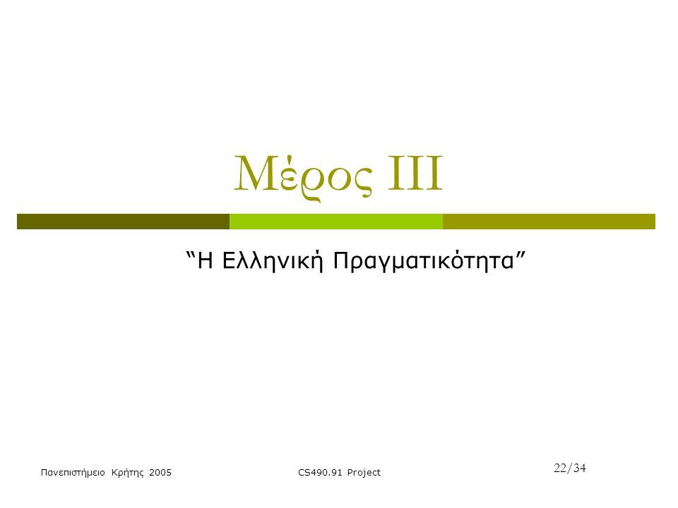 """Πανεπιστήμειο Κρήτης 2005CS490.91 Project Μέρος ΙΙΙ """"H Ελληνική Πραγματικότητα"""" 22/34"""