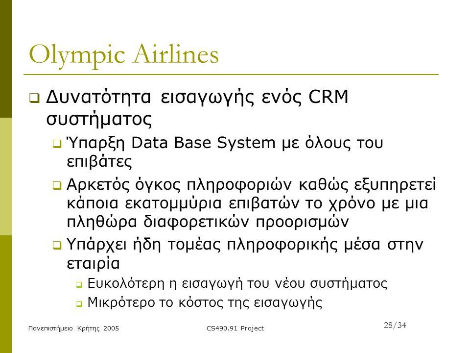 Πανεπιστήμειο Κρήτης 2005CS490.91 Project Olympic Airlines  Δυνατότητα εισαγωγής ενός CRM συστήματος  Ύπαρξη Data Base System με όλους του επιβάτες