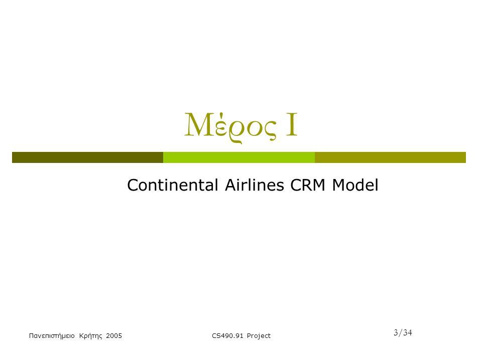 Πανεπιστήμειο Κρήτης 2005CS490.91 Project Μέρος Ι Continental Airlines CRM Model 3/34