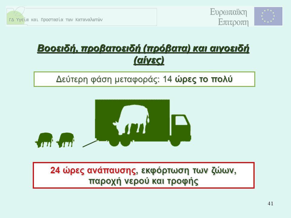 41 Δεύτερη φάση μεταφοράς: 14 ώρες το πολύ 24 ώρες ανάπαυσης, εκφόρτωση των ζώων, παροχή νερού και τροφής Βοοειδή, προβατοειδή (πρόβατα) και αιγοειδή