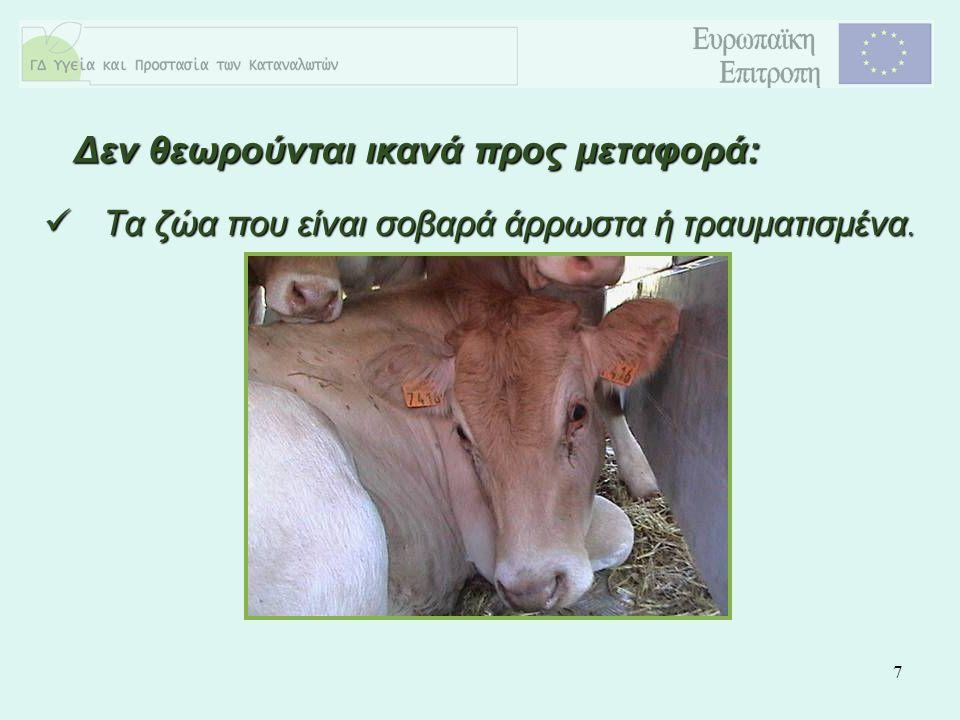 7 Τα ζώα που είναι σοβαρά άρρωστα ή τραυματισμένα. Τα ζώα που είναι σοβαρά άρρωστα ή τραυματισμένα. Δεν θεωρούνται ικανά προς μεταφορά: