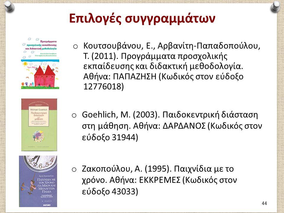 Επιλογές συγγραμμάτων o Κουτσουβάνου, Ε., Αρβανίτη-Παπαδοπούλου, Τ. (2011). Προγράμματα προσχολικής εκπαίδευσης και διδακτική μεθοδολογία. Αθήνα: ΠΑΠΑ