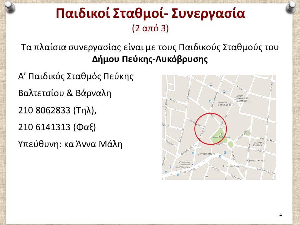 Παιδικοί Σταθμοί- Συνεργασία (3 από 3) Τα πλαίσια συνεργασίας είναι με τους Παιδικούς Σταθμούς του Δήμου Πεύκης-Λυκόβρυσης Β' Παιδικός Σταθμός Πεύκης Εθνικής Αντιστάσεως & Γρηγορίου Λαμπράκη 210 8029484 (Τηλ), 210 8029638 (Φαξ) Υπεύθυνη: κα Αγγελική Τοσκίδη 5
