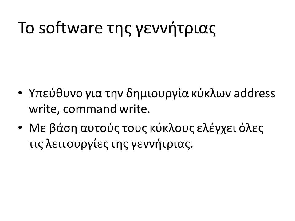 To software της γεννήτριας Υπεύθυνο για την δημιουργία κύκλων address write, command write.
