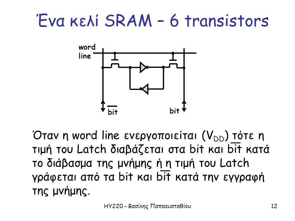 ΗΥ220 - Βασίλης Παπαευσταθίου12 word line bit Όταν η word line ενεργοποιείται (V DD ) τότε η τιμή του Latch διαβάζεται στα bit και bit κατά το διάβασμ