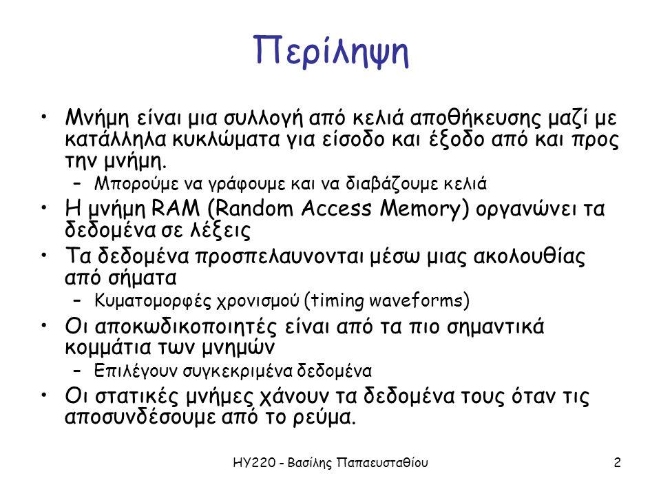 ΗΥ220 - Βασίλης Παπαευσταθίου13 Μια Τυπική οργάνωση SRAM : 16-word x 4-bit