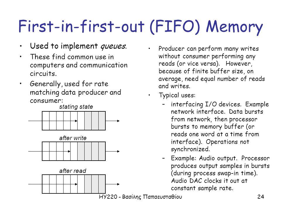 ΗΥ220 - Βασίλης Παπαευσταθίου24 First-in-first-out (FIFO) Memory Used to implement queues. These find common use in computers and communication circui