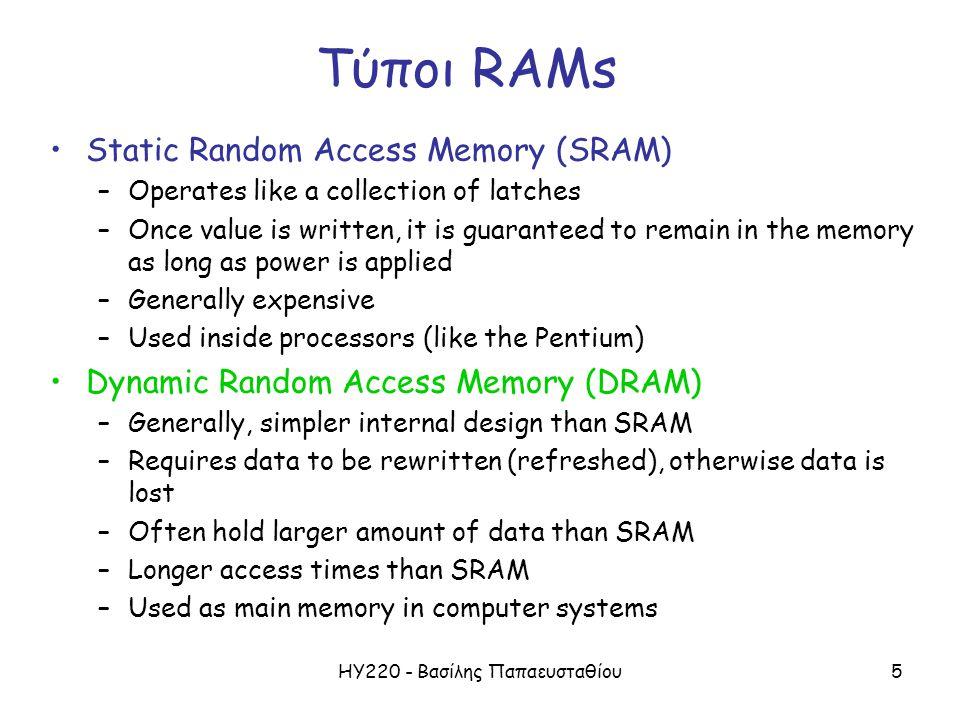 ΗΥ220 - Βασίλης Παπαευσταθίου5 Τύποι RAMs Static Random Access Memory (SRAM) –Operates like a collection of latches –Once value is written, it is guar