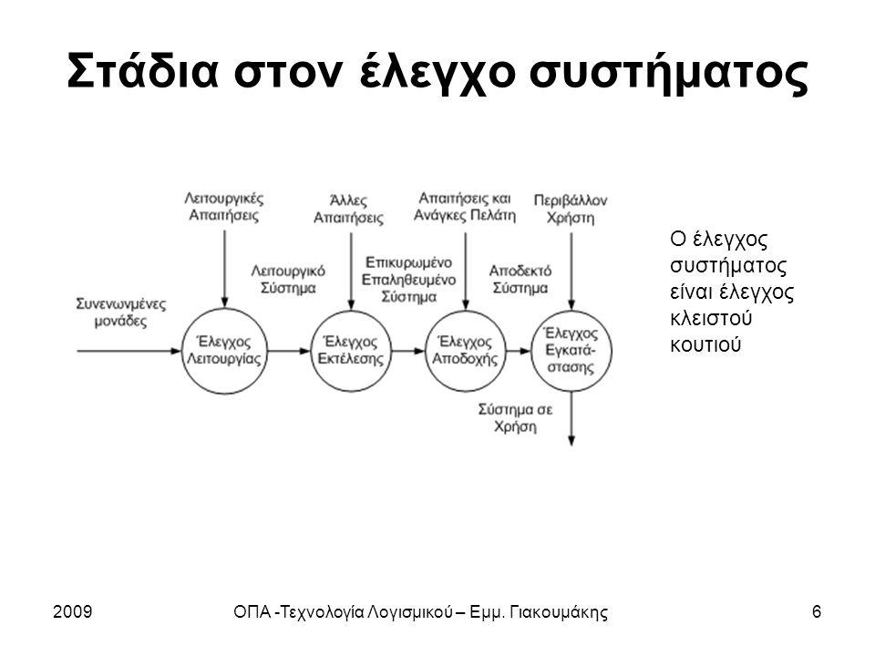 Στάδια στον έλεγχο συστήματος 2009ΟΠΑ -Τεχνολογία Λογισμικού – Εμμ.