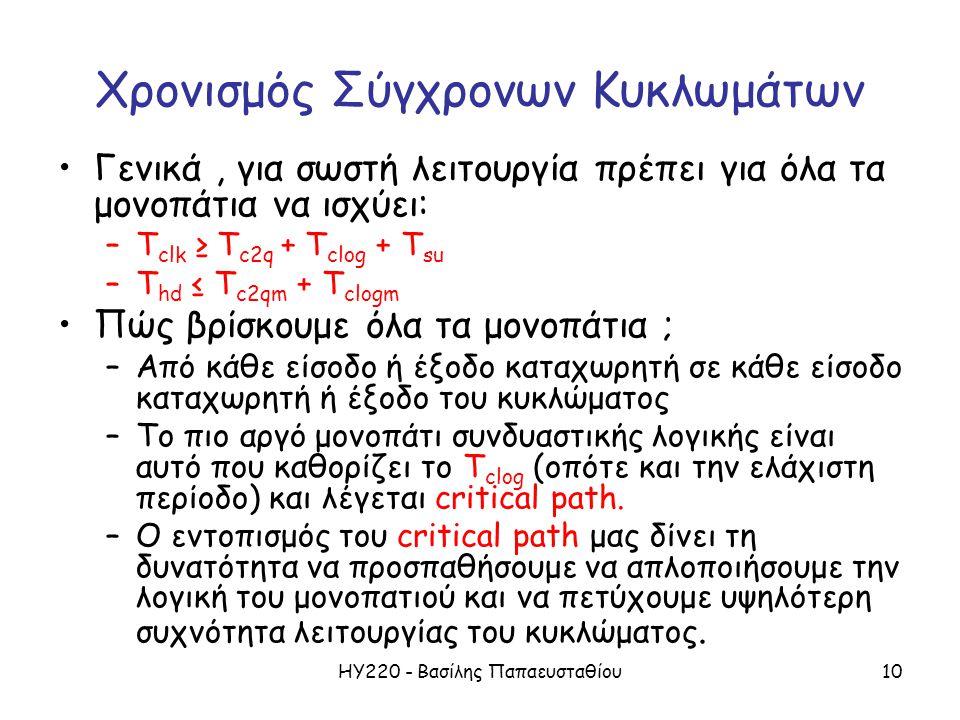 ΗΥ220 - Βασίλης Παπαευσταθίου10 Χρονισμός Σύγχρονων Κυκλωμάτων Γενικά, για σωστή λειτουργία πρέπει για όλα τα μονοπάτια να ισχύει: –T clk ≥ T c2q + T clog + T su –T hd ≤ T c2qm + T clogm Πώς βρίσκουμε όλα τα μονοπάτια ; –Από κάθε είσοδο ή έξοδο καταχωρητή σε κάθε είσοδο καταχωρητή ή έξοδο του κυκλώματος –Το πιο αργό μονοπάτι συνδυαστικής λογικής είναι αυτό που καθορίζει το T clog (οπότε και την ελάχιστη περίοδο) και λέγεται critical path.