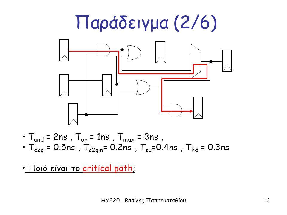 ΗΥ220 - Βασίλης Παπαευσταθίου12 Παράδειγμα (2/6) T and = 2ns, T or = 1ns, T mux = 3ns, T c2q = 0.5ns, T c2qm = 0.2ns, T su =0.4ns, T hd = 0.3ns Ποιό είναι το critical path;