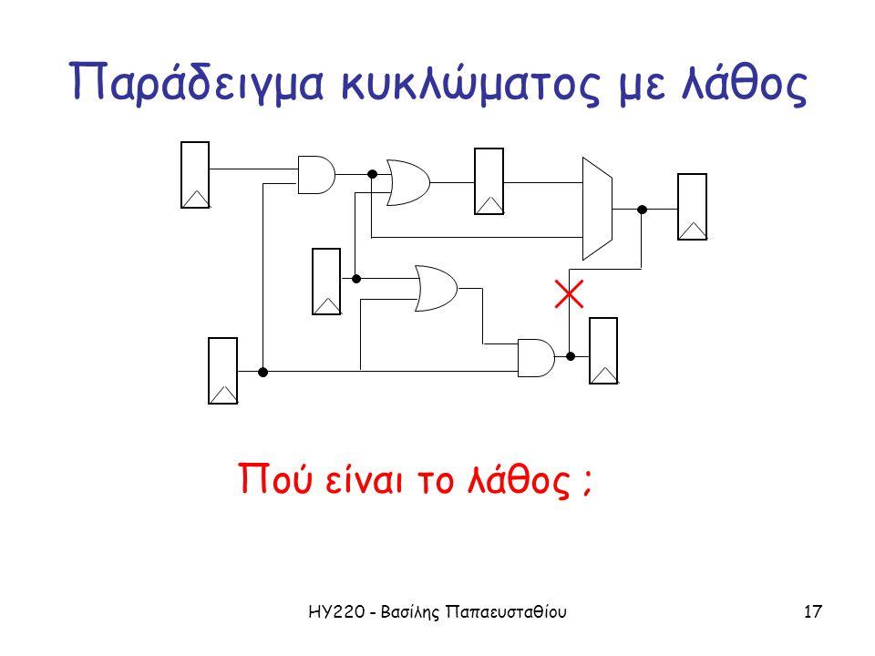 ΗΥ220 - Βασίλης Παπαευσταθίου17 Παράδειγμα κυκλώματος με λάθος Πού είναι το λάθος ;