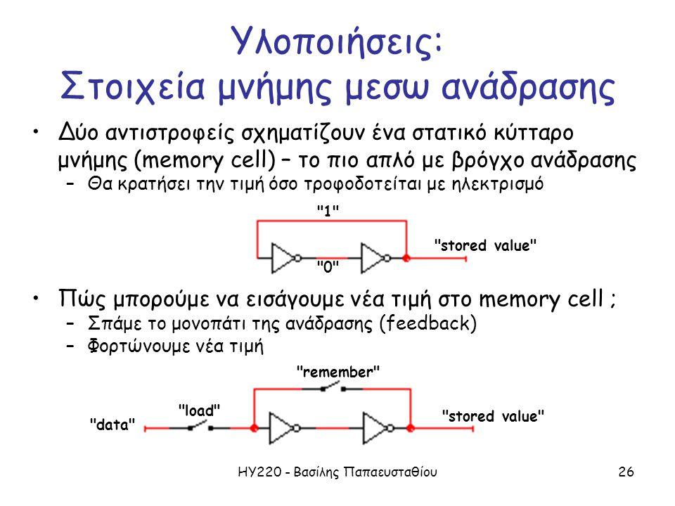 ΗΥ220 - Βασίλης Παπαευσταθίου26 Δύο αντιστροφείς σχηματίζουν ένα στατικό κύτταρο μνήμης (memory cell) – το πιο απλό με βρόγχο ανάδρασης –Θα κρατήσει την τιμή όσο τροφοδοτείται με ηλεκτρισμό Πώς μπορούμε να εισάγουμε νέα τιμή στο memory cell ; –Σπάμε το μονοπάτι της ανάδρασης (feedback) –Φορτώνουμε νέα τιμή remember load data stored value 0 1 stored value Υλοποιήσεις: Στοιχεία μνήμης μεσω ανάδρασης
