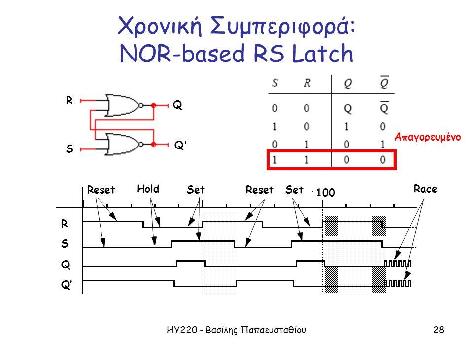 ΗΥ220 - Βασίλης Παπαευσταθίου28 Reset Hold Set Reset Race RSQQ'RSQQ' 100 Χρονική Συμπεριφορά: NOR-based RS Latch R S Q Q Απαγορευμένο