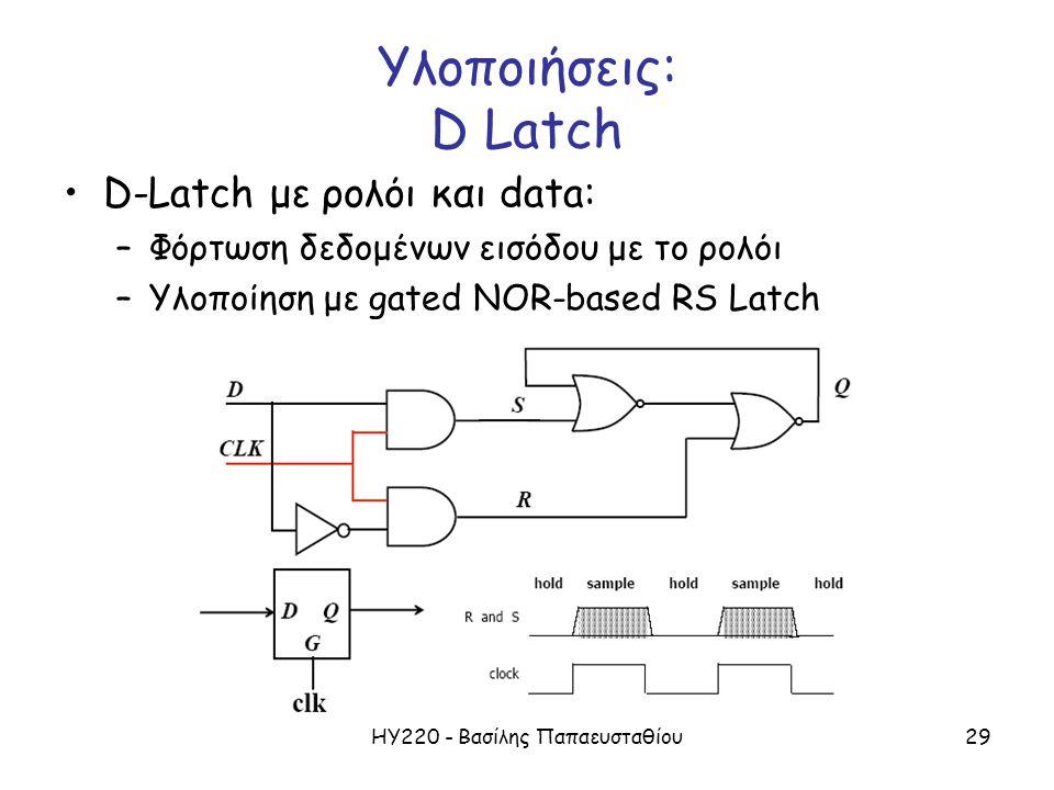 ΗΥ220 - Βασίλης Παπαευσταθίου29 Υλοποιήσεις: D Latch D-Latch με ρολόι και data: –Φόρτωση δεδομένων εισόδου με το ρολόι –Υλοποίηση με gated NOR-based RS Latch