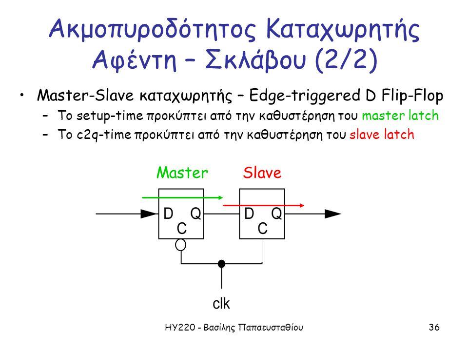ΗΥ220 - Βασίλης Παπαευσταθίου36 Ακμοπυροδότητος Καταχωρητής Αφέντη – Σκλάβου (2/2) Master-Slave καταχωρητής – Edge-triggered D Flip-Flop –Το setup-time προκύπτει από την καθυστέρηση του master latch –To c2q-time προκύπτει από την καθυστέρηση του slave latch MasterSlave