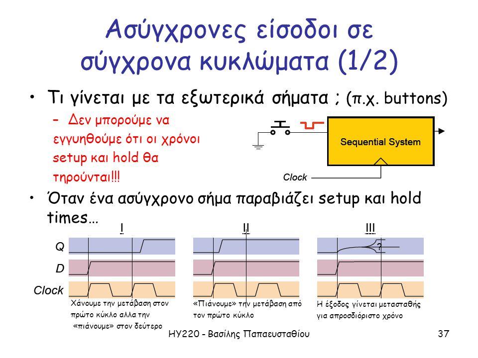 ΗΥ220 - Βασίλης Παπαευσταθίου37 Ασύγχρονες είσοδοι σε σύγχρονα κυκλώματα (1/2) Τι γίνεται με τα εξωτερικά σήματα ; (π.χ.