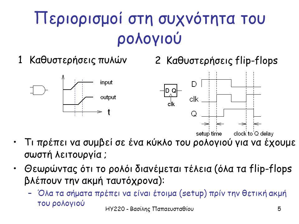 ΗΥ220 - Βασίλης Παπαευσταθίου5 Περιορισμοί στη συχνότητα του ρολογιού 1Καθυστερήσεις πυλών 2Καθυστερήσεις flip-flops Τι πρέπει να συμβεί σε ένα κύκλο του ρολογιού για να έχουμε σωστή λειτουργία ; Θεωρώντας ότι το ρολόι διανέμεται τέλεια (όλα τα flip-flops βλέπουν την ακμή ταυτόχρονα): –Όλα τα σήματα πρέπει να είναι έτοιμα (setup) πρίν την θετική ακμή του ρολογιού