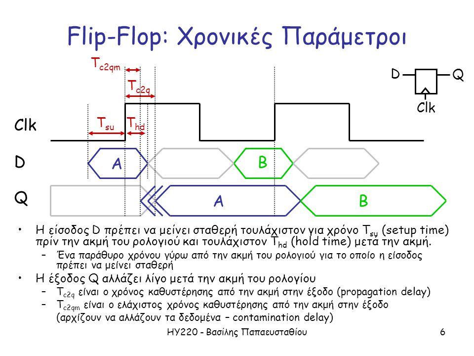 ΗΥ220 - Βασίλης Παπαευσταθίου6 Flip-Flop: Χρονικές Παράμετροι Η είσοδος D πρέπει να μείνει σταθερή τουλάχιστον για χρόνο T su (setup time) πρίν την ακμή του ρολογιού και τουλάχιστον T hd (hold time) μετά την ακμή.