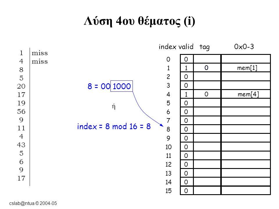 cslab@ntua © 2004-05 Λύση 4ου θέματος (i) 8 = 00 1000 ή index = 8 mod 16 = 8 indexvalidtag0x0-3 00 11 02 03 14 05 06 07 08 09 01010 011 012 013 014 015 0mem[1] 0 1 miss 4 miss 8 5 20 17 19 56 9 11 4 43 5 6 9 17 0mem[4]