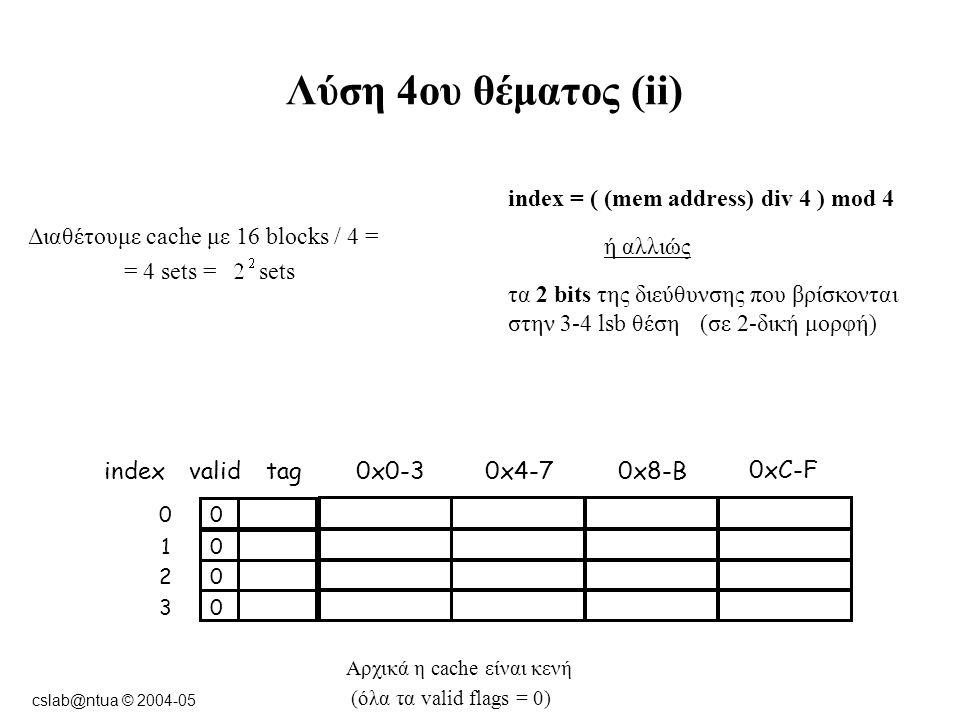 cslab@ntua © 2004-05 Λύση 4ου θέματος (ii) Αρχικά η cache είναι κενή (όλα τα valid flags = 0) Διαθέτουμε cache με 16 blocks / 4 = = 4 sets = sets indexvalidtag0x0-3 00 0xC-F 0x8-B0x4-7 01 02 03 index = ( (mem address) div 4 ) mod 4 ή αλλιώς τα 2 bits της διεύθυνσης που βρίσκονται στην 3-4 lsb θέση(σε 2-δική μορφή)