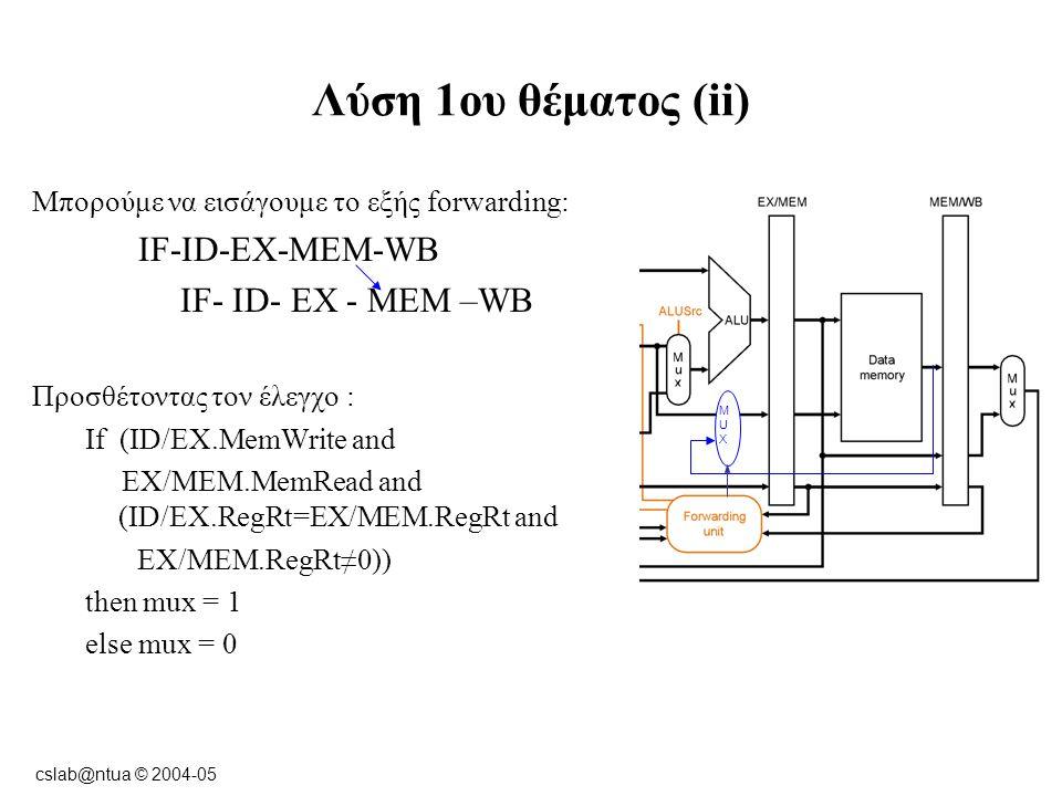 cslab@ntua © 2004-05 Λύση 1ου θέματος (ii) 2η Λύση : If (EX/MEM.MemWrite and MEM/WB.RegWrite and (EX/MEM.RegRt=MEM/WB.RegRt and MEM/WB.RegRt≠0)) then mux = 1 else mux = 0 MUXMUX