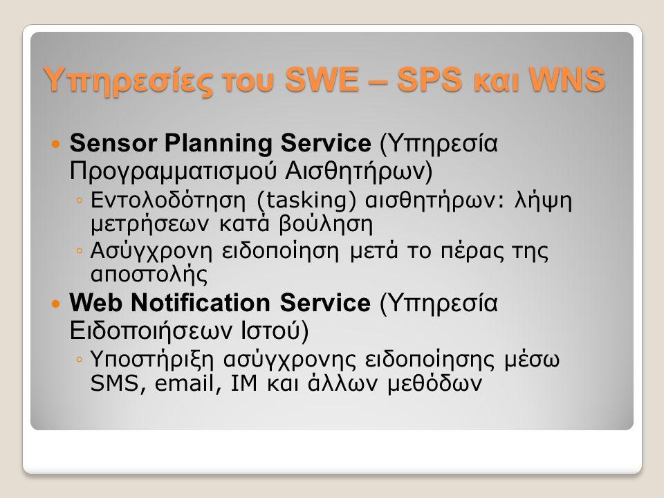 Υπηρεσίες του SWE – SPS και WNS Sensor Planning Service (Υπηρεσία Προγραμματισμού Αισθητήρων) ◦Εντολοδότηση (tasking) αισθητήρων: λήψη μετρήσεων κατά βούληση ◦Ασύγχρονη ειδοποίηση μετά το πέρας της αποστολής Web Notification Service (Υπηρεσία Ειδοποιήσεων Ιστού) ◦Υποστήριξη ασύγχρονης ειδοποίησης μέσω SMS, email, IM και άλλων μεθόδων