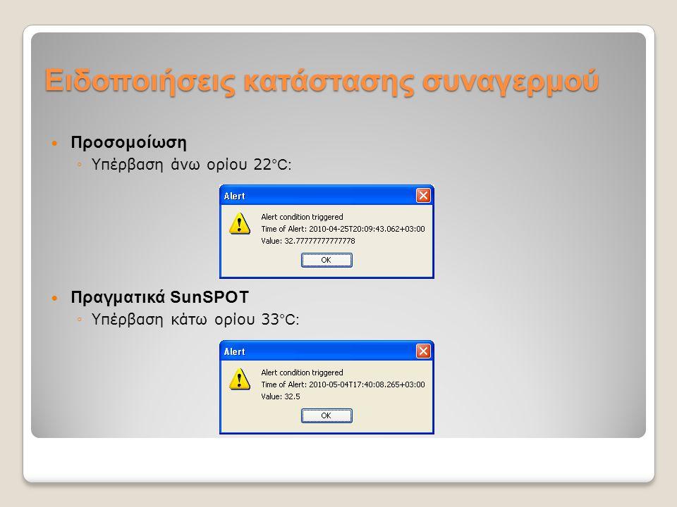 Ειδοποιήσεις κατάστασης συναγερμού Προσομοίωση ◦Υπέρβαση άνω ορίου 22 °C: Πραγματικά SunSPOT ◦Υπέρβαση κάτω ορίου 33 °C: