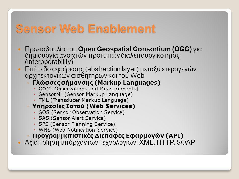 Sensor Web Enablement Πρωτοβουλία του Open Geospatial Consortium (OGC) για δημιουργία ανοιχτών προτύπων διαλειτουργικότητας (interoperability) Επίπεδο αφαίρεσης (abstraction layer) μεταξύ ετερογενών αρχιτεκτονικών αισθητήρων και του Web ◦Γλώσσες σήμανσης (Markup Languages)  O&M (Observations and Measurements)  SensorML (Sensor Markup Language)  TML (Transducer Markup Language) ◦Υπηρεσίες Ιστού (Web Services)  SOS (Sensor Observation Service)  SAS (Sensor Alert Service)  SPS (Sensor Planning Service)  WNS (Web Notification Service) ◦Προγραμματιστικές Διεπαφές Εφαρμογών (API) Αξιοποίηση υπάρχοντων τεχνολογιών: XML, HTTP, SOAP