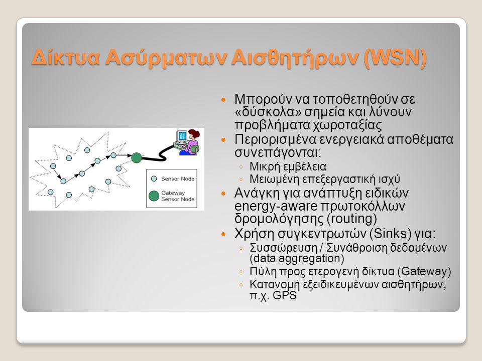 Υπηρεσίες του SWE - SOS Sensor Observation Service (Υπηρεσία Παρατηρήσεων Αισθητήρων) ◦Data-Pull model: επερωτήσεις για μετρήσεις αισθητήρων καθώς και για μεταδεδομένα αισθητήριων κόμβων ◦Βασικές λειτουργίες:  RegisterSensor: Καταχώρηση αισθητήριου κόμβου  InsertObservation: Εισαγωγή μέτρησης  GetCapabilities: Ανάκτηση μεταδεδομένων υπηρεσίας και διαθέσιμων ειδών μετρήσεων  GetObservation: Επερώτηση για μετρήσεις