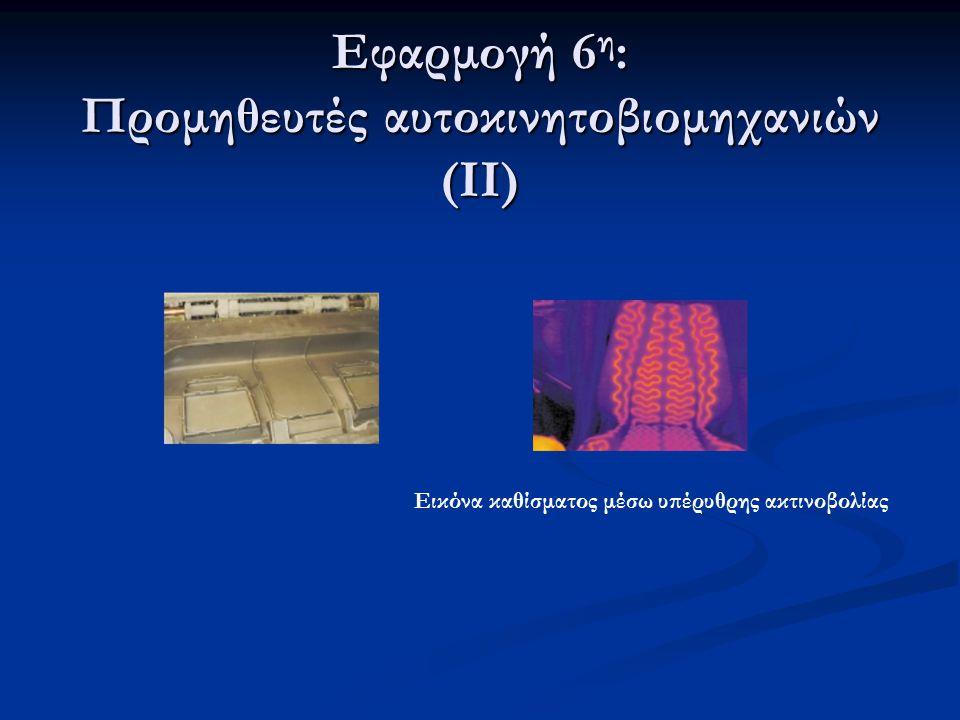 Εφαρμογή 6 η : Προμηθευτές αυτοκινητοβιομηχανιών (ΙΙ) Εικόνα καθίσματος μέσω υπέρυθρης ακτινοβολίας