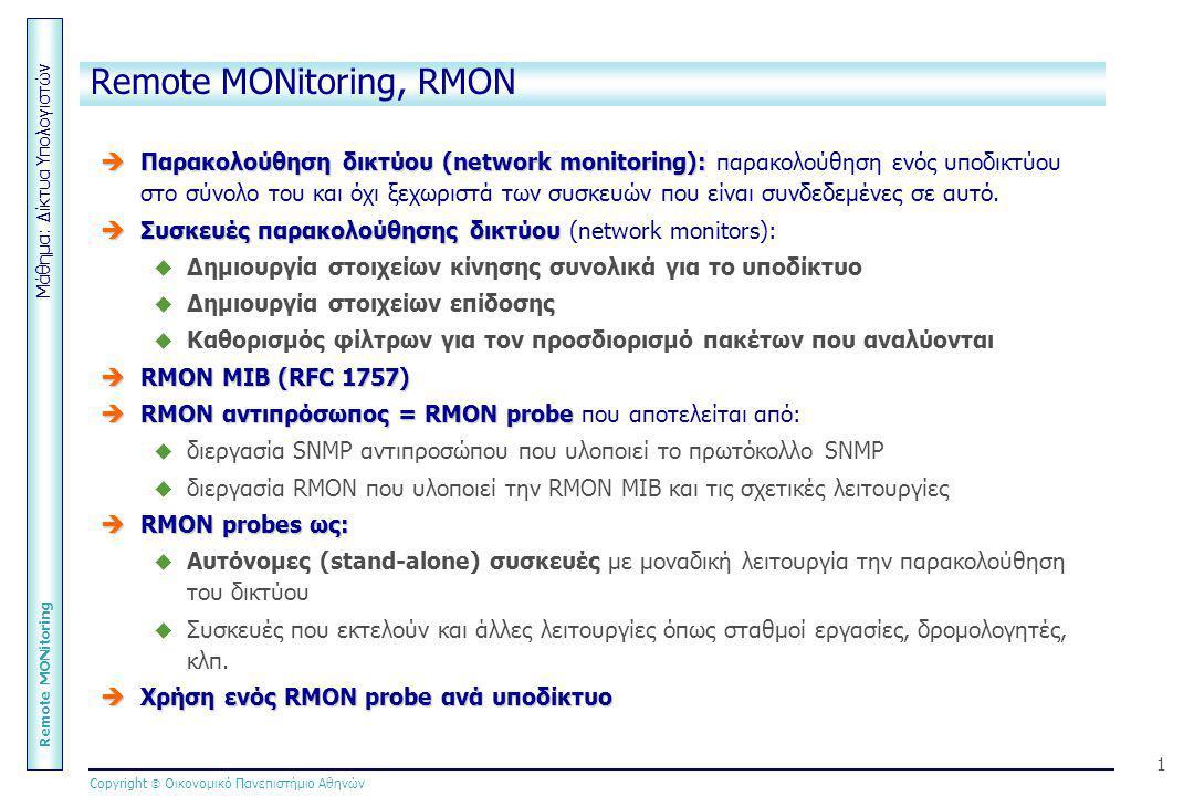 Μάθημα: Δίκτυα Υπολογιστών Remote MONitoring Copyright  Οικονομικό Πανεπιστήμιο Αθηνών 1 Remote MONitoring, RMON  Παρακολούθηση δικτύου (network mon
