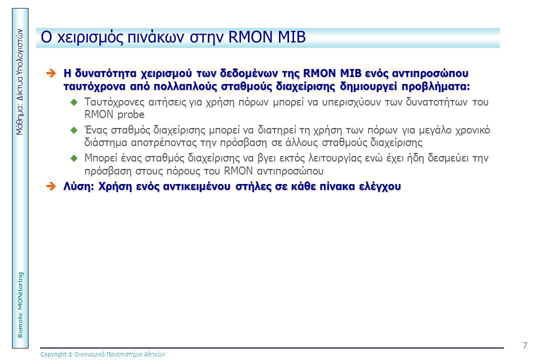 Μάθημα: Δίκτυα Υπολογιστών Remote MONitoring Copyright  Οικονομικό Πανεπιστήμιο Αθηνών 7 O xειρισμός πινάκων στην RMON MIB  Η δυνατότητα χειρισμού τ