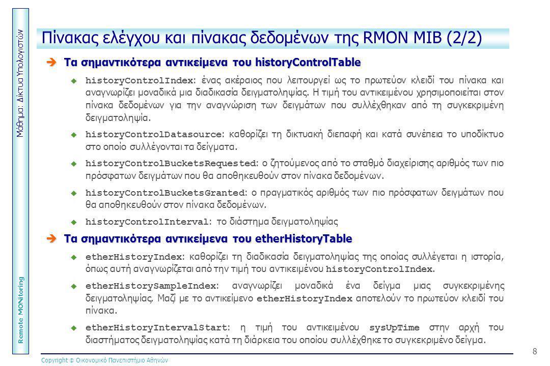 Μάθημα: Δίκτυα Υπολογιστών Remote MONitoring Copyright  Οικονομικό Πανεπιστήμιο Αθηνών 8 Πίνακας ελέγχου και πίνακας δεδομένων της RMON MIB (2/2)  Τ