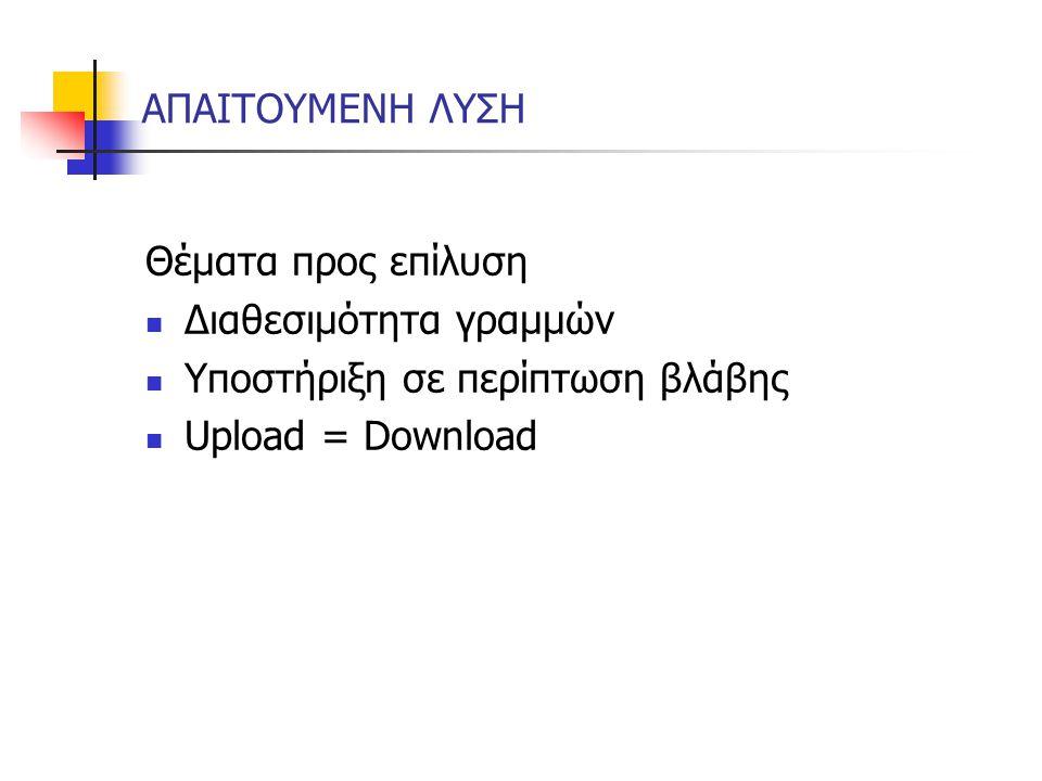 ΑΠΑΙΤΟΥΜΕΝΗ ΛΥΣΗ Θέματα προς επίλυση Διαθεσιμότητα γραμμών Υποστήριξη σε περίπτωση βλάβης Upload = Download