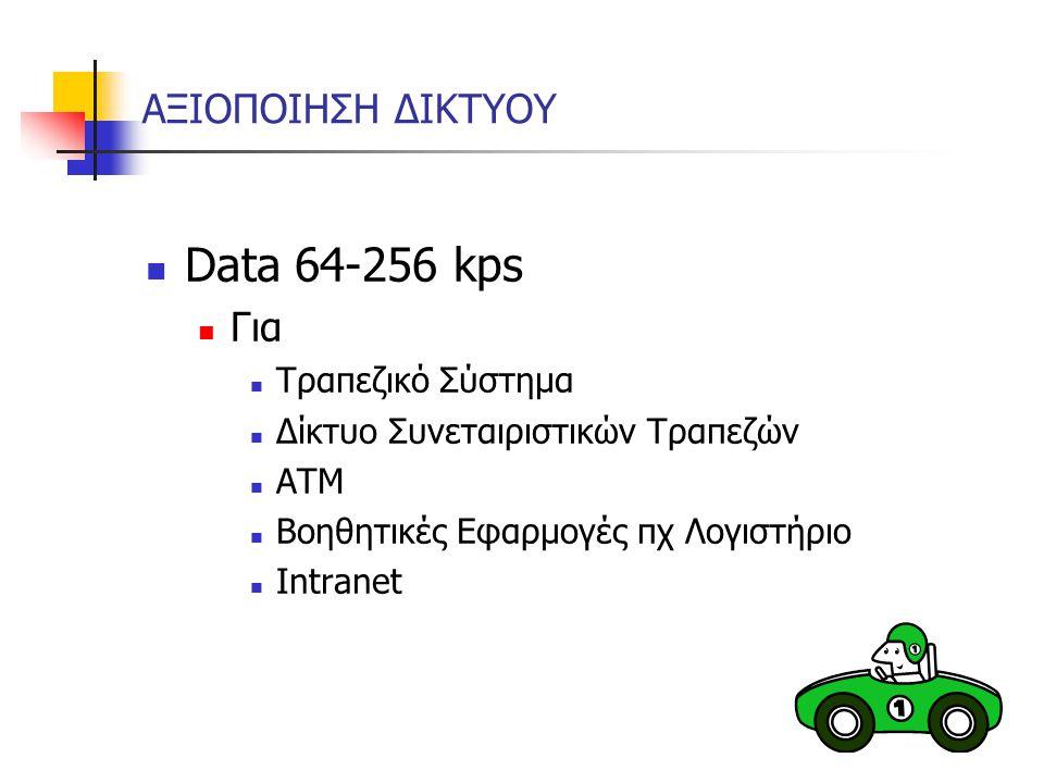 ΑΞΙΟΠΟΙΗΣΗ ΔΙΚΤΥΟΥ Data 64-256 kps Για Τραπεζικό Σύστημα Δίκτυο Συνεταιριστικών Τραπεζών ΑΤΜ Βοηθητικές Εφαρμογές πχ Λογιστήριο Intranet