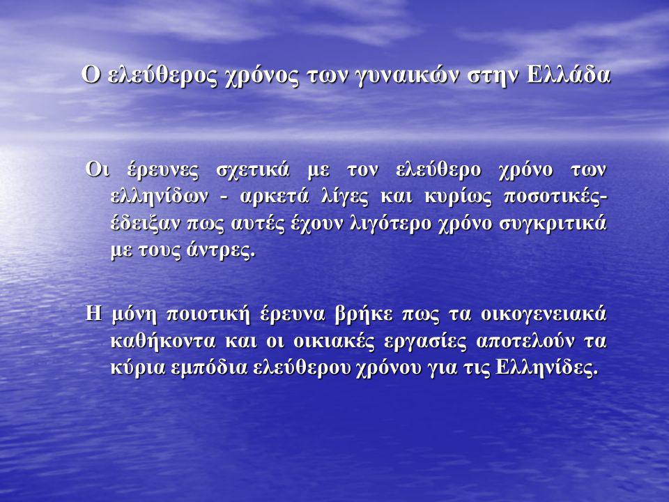 Ο ελεύθερος χρόνος των γυναικών στην Ελλάδα Οι έρευνες σχετικά με τον ελεύθερο χρόνο των ελληνίδων - αρκετά λίγες και κυρίως ποσοτικές- έδειξαν πως αυτές έχουν λιγότερο χρόνο συγκριτικά με τους άντρες.