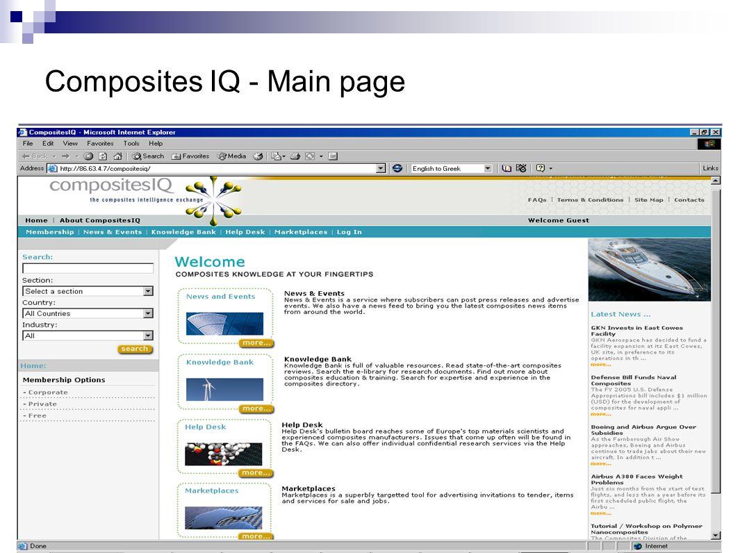 Composites IQ - Main page