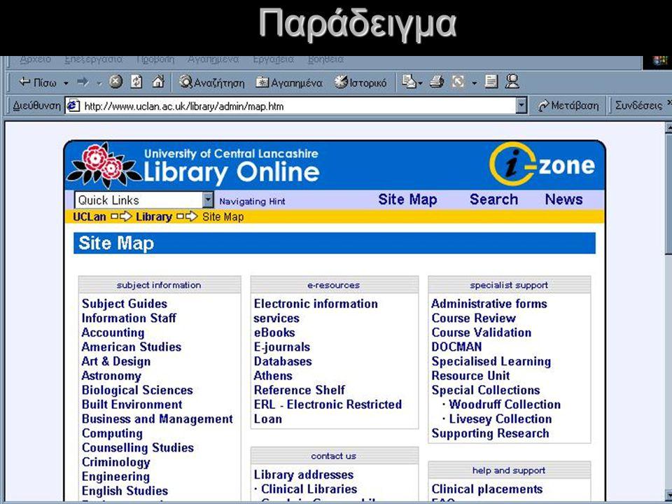 Χρήση των site-maps Προσφέρουν ένα ευρετήριο κειμένου ή ένα χάρτη του site με συνδέσεις, έτσι ώστε οι χρήστες να μπορούν να πλοηγηθούν σωστά στις σελίδες, αντί να πρέπει να βρούν αυτό που χρειάζονται μέσα σε ένα μεγάλο site.