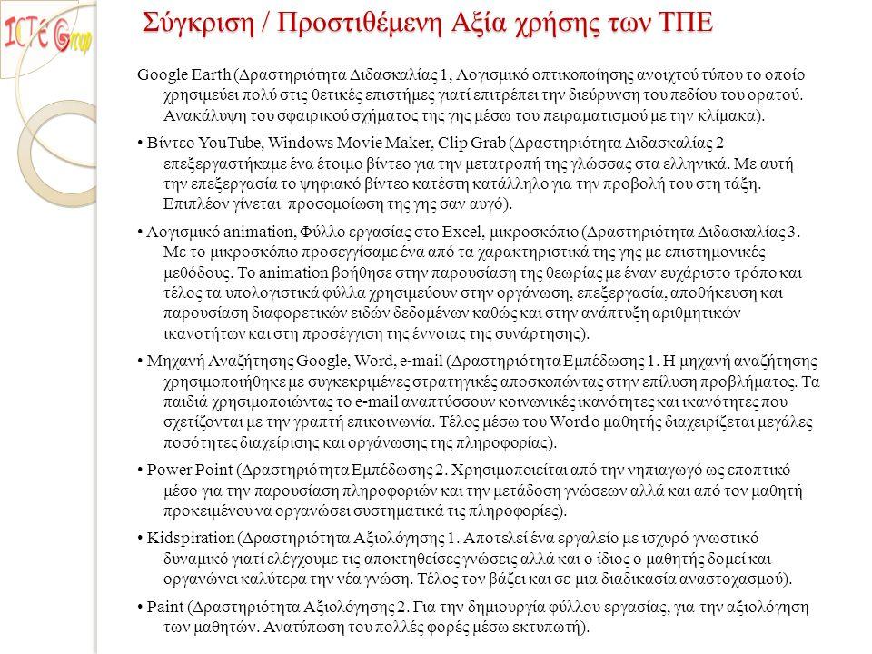 Βιβλιογραφία Βιβλία-Άρθρα: ◦ Κόμης, Β., Εισαγωγή στις Εκπαιδευτικές Εφαρμογές των ΤΠΕ, Εκδόσεις Νέων Τεχνολογιών, Αθήνα, 2004.