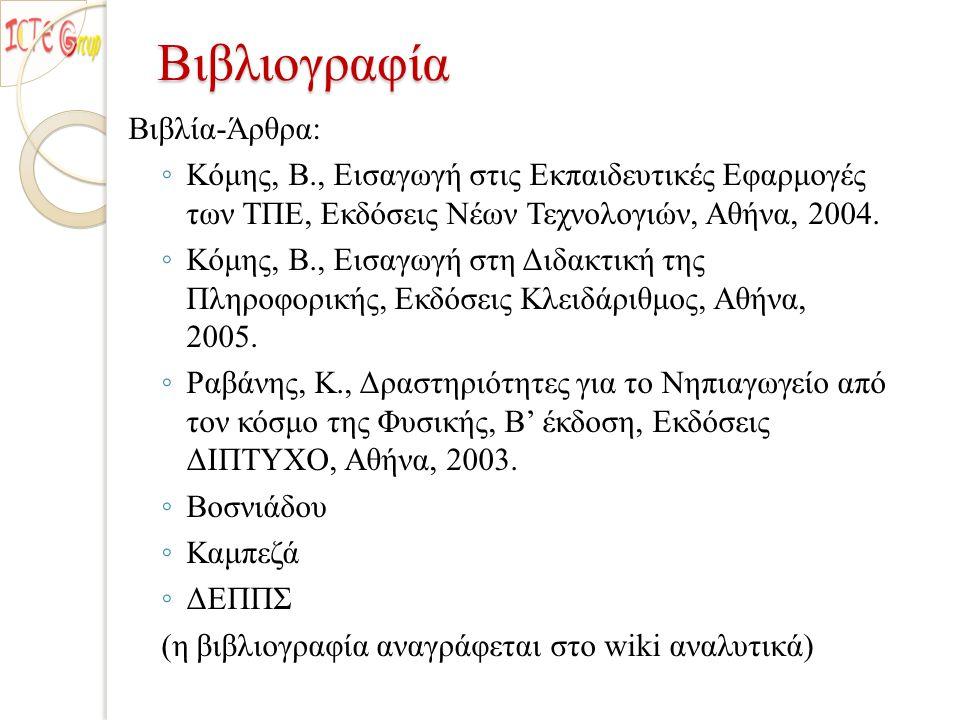 Βιβλιογραφία Βιβλία-Άρθρα: ◦ Κόμης, Β., Εισαγωγή στις Εκπαιδευτικές Εφαρμογές των ΤΠΕ, Εκδόσεις Νέων Τεχνολογιών, Αθήνα, 2004. ◦ Κόμης, Β., Εισαγωγή σ